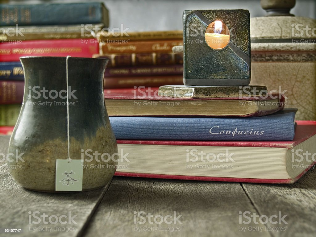 Tea and Far Eastern philosophy stock photo