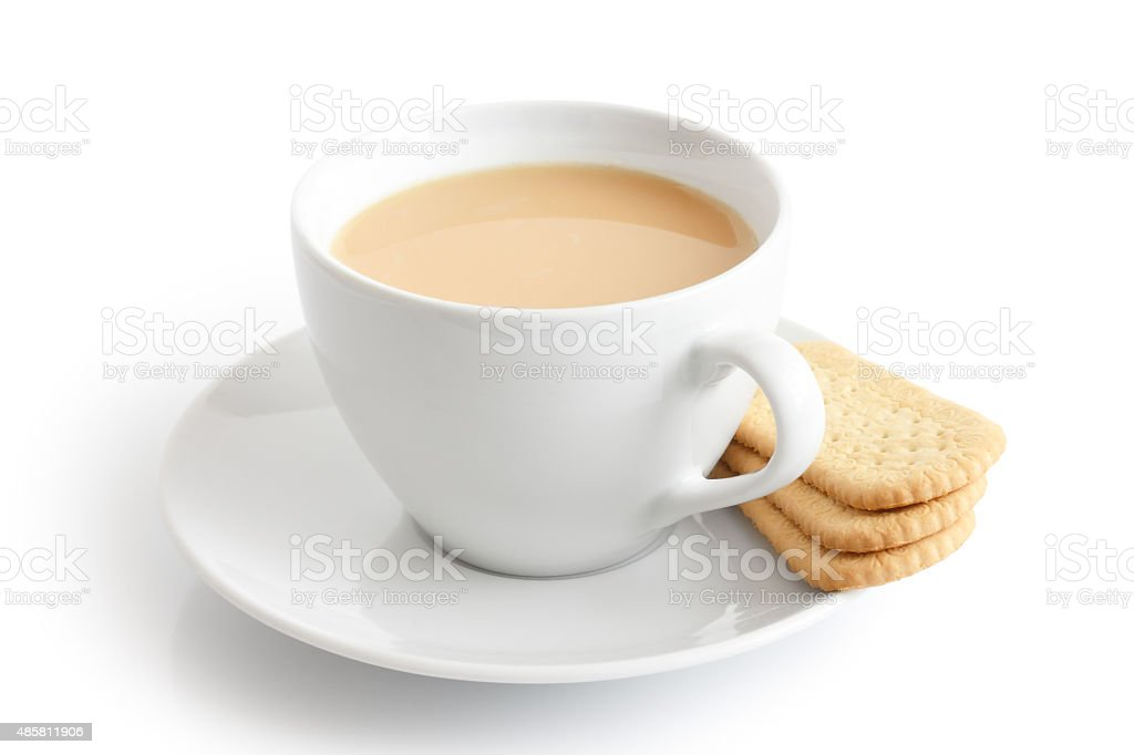 Tea and finger biscuits. stock photo
