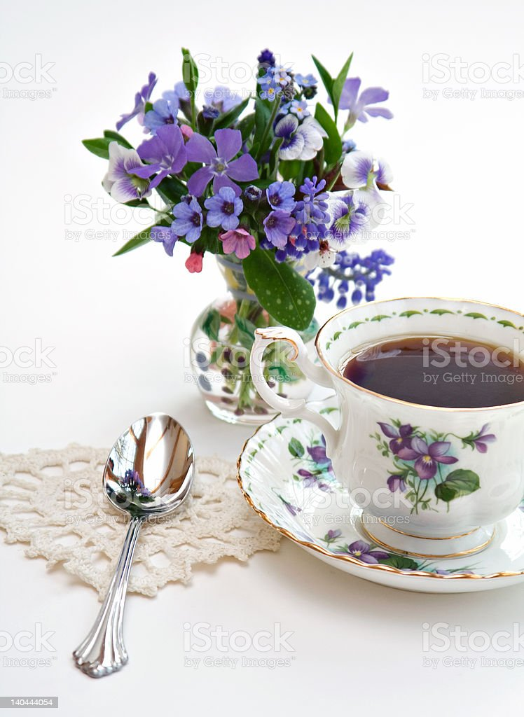 Tea and Flowers royalty-free stock photo