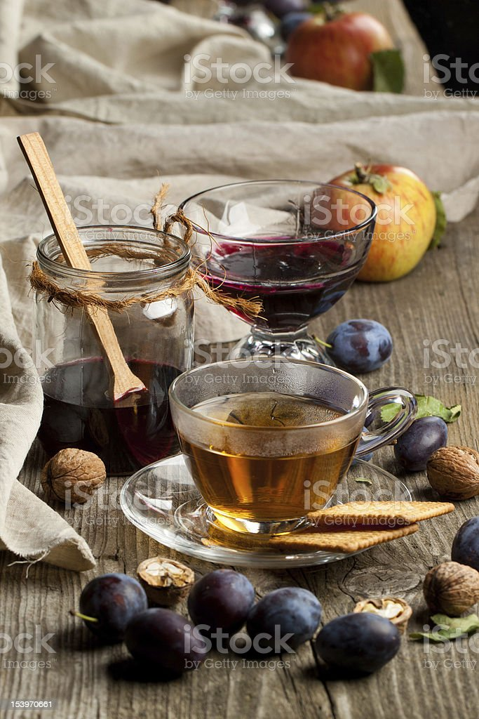 Tea and fruits royalty-free stock photo