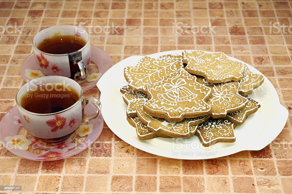 Tea and gingerbread cookies stock photo
