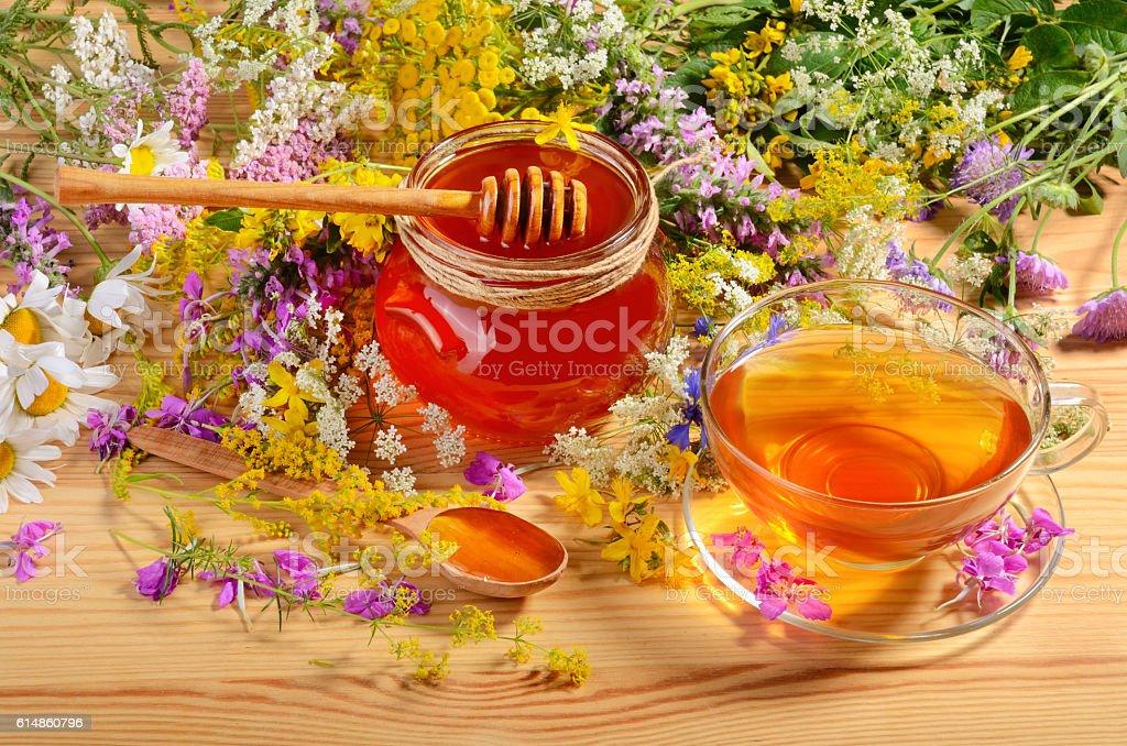 Tea and honey stock photo