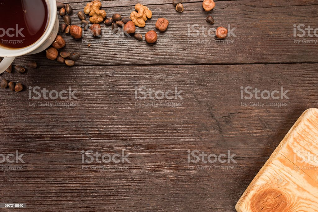 Tea and nuts stock photo