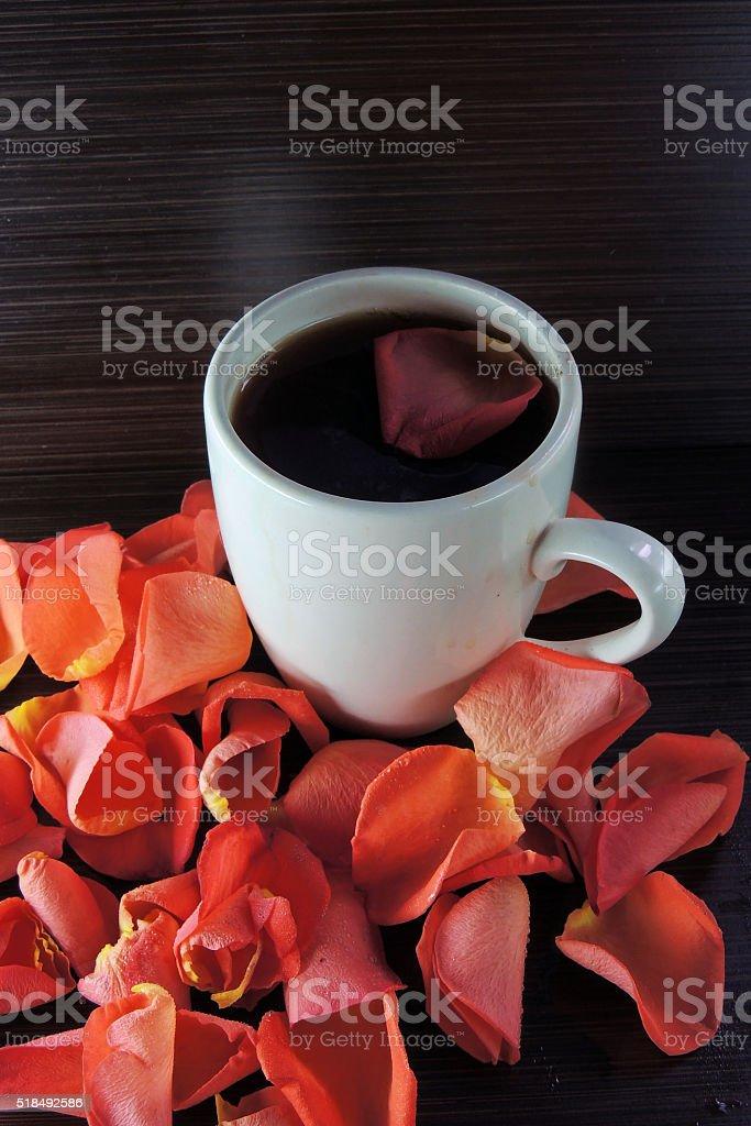 Tea and rose petals stock photo