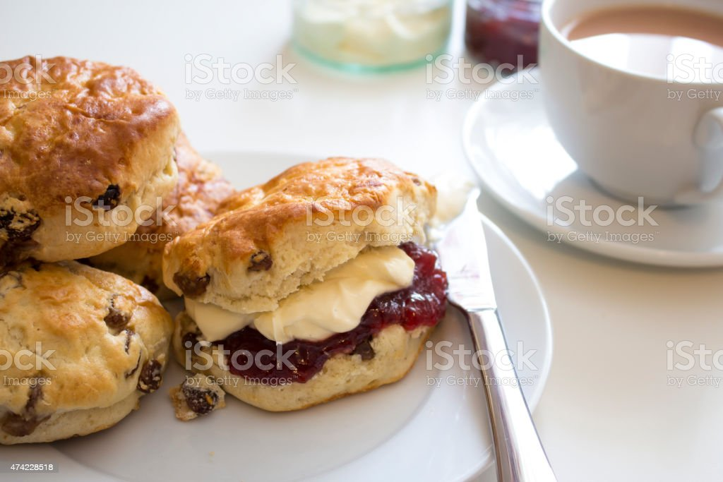 Tea and Scones the British Way stock photo