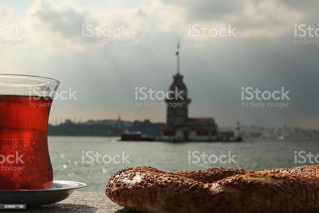 tea and simit stock photo