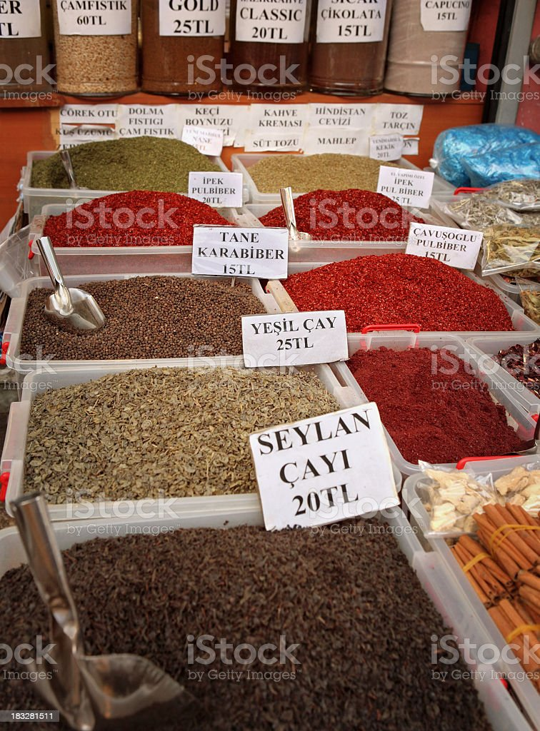 Tea and Spices on Turkish Bazzar royalty-free stock photo
