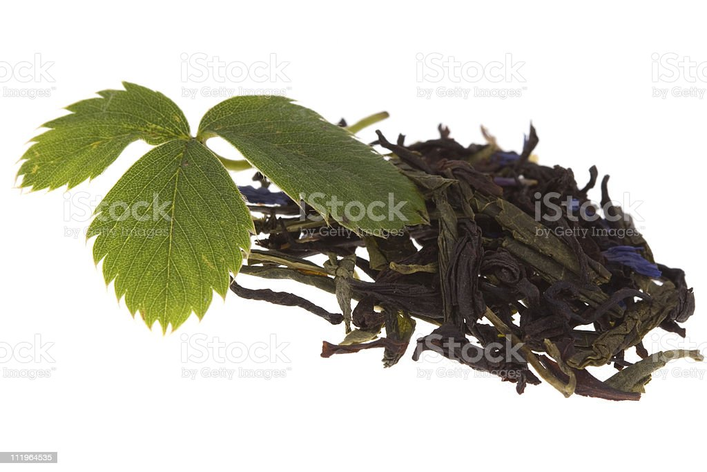 Tea and strawberry leaf on isolated stock photo
