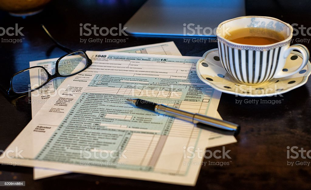 Tea and Taxes stock photo