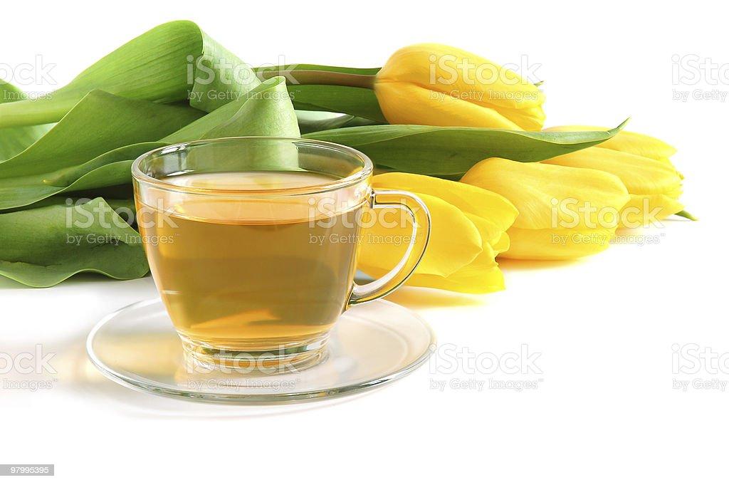 Tea and tulips royalty-free stock photo