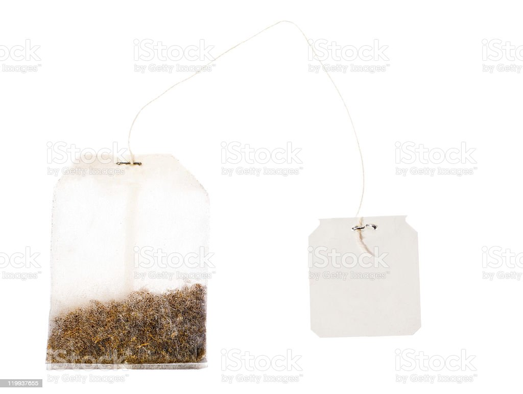 Tea bag with blank label on a string royalty-free stock photo
