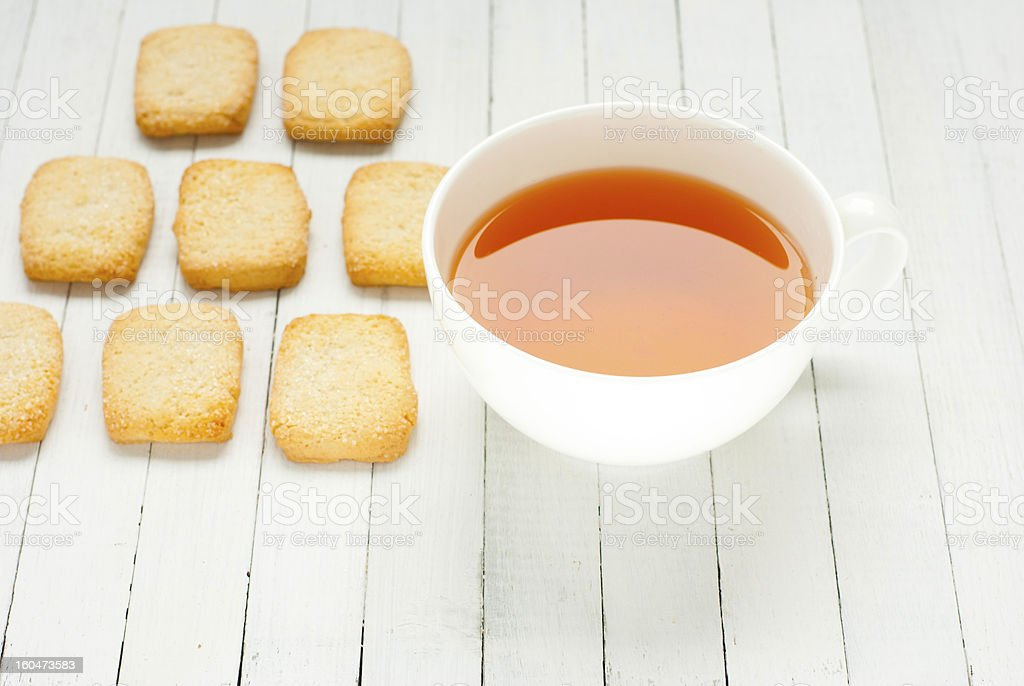 Tea, butter cookies royalty-free stock photo