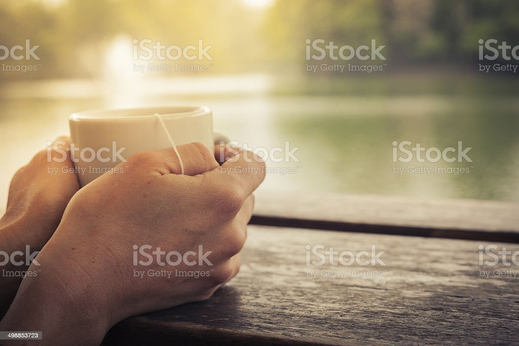 Tea by the lake stock photo