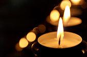 Tea candles in church