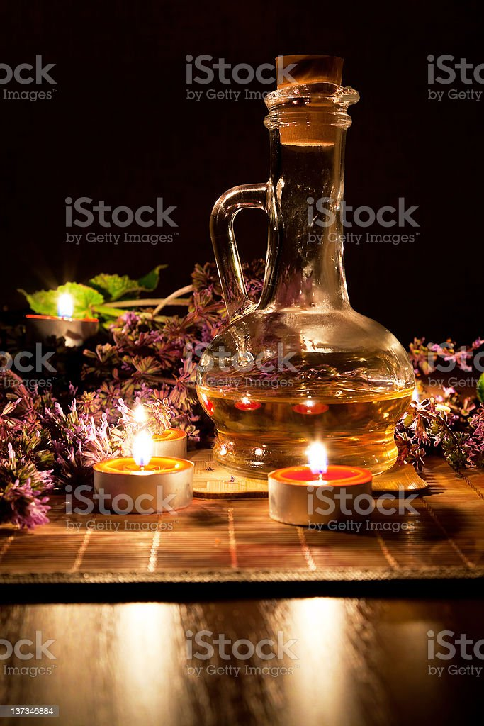 Tea candles, oil and lavender royalty-free stock photo