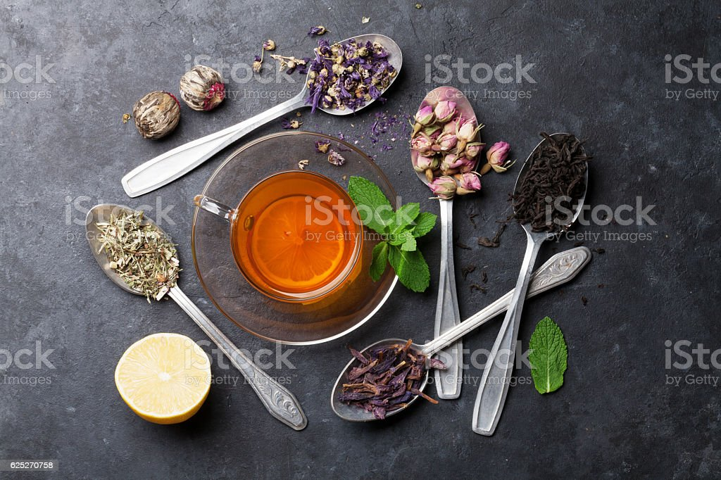 Tea cup and assortment of dry tea in spoons stock photo