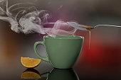 tea cup, hot, lemmon