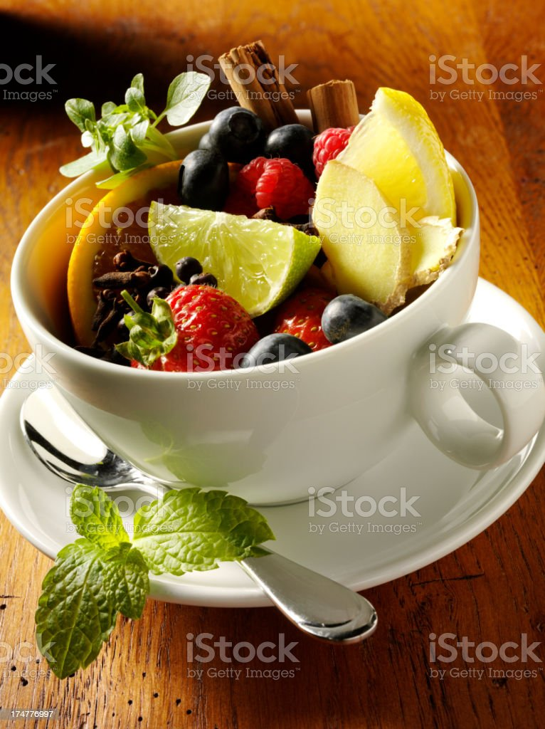 Tea Cup of Fresh Fruits royalty-free stock photo