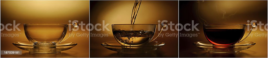 Tea cup on abstract golden background stock photo