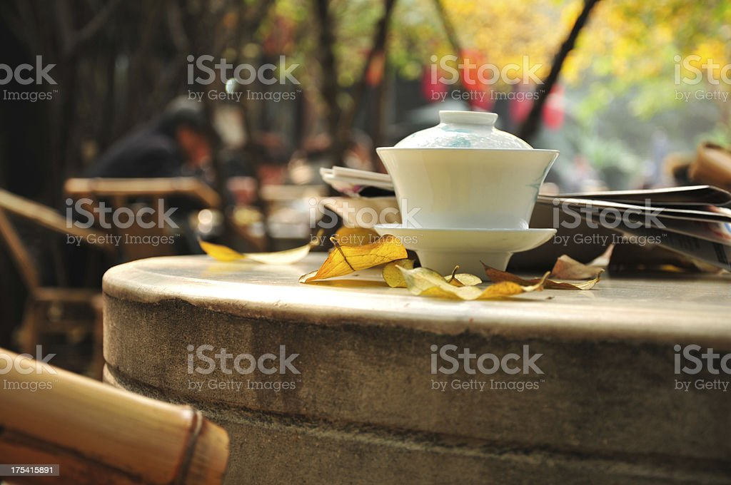 Tea cup on the desk royalty-free stock photo