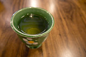 Tea cup on wood table