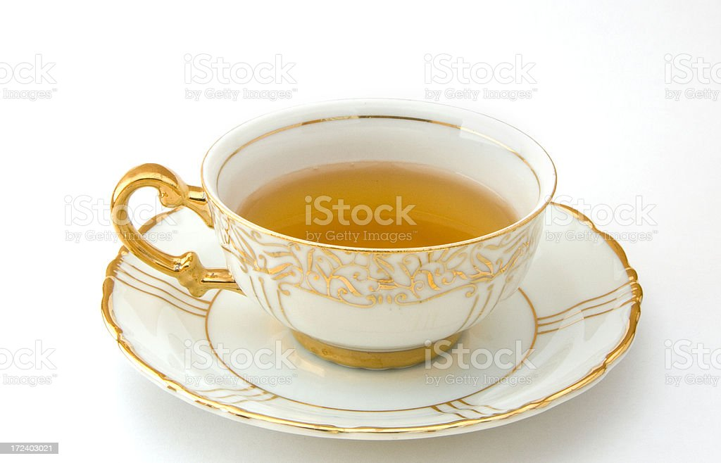 Tea Cup, Saucer, Gold, White, Dainty, Hot Beverage, Isolated royalty-free stock photo