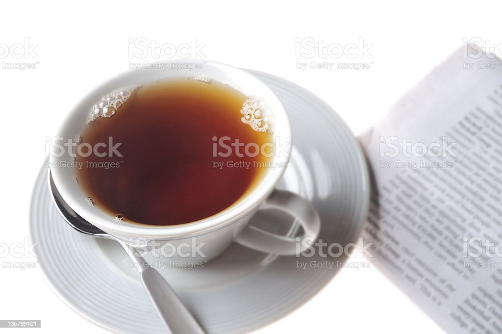 Tea Cup & saucer with newspaper royalty-free stock photo