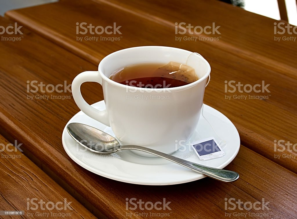 tea, cup, spoon, wood, table royalty-free stock photo
