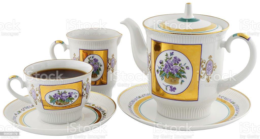 Tea cup, teapot andcream-jug stock photo