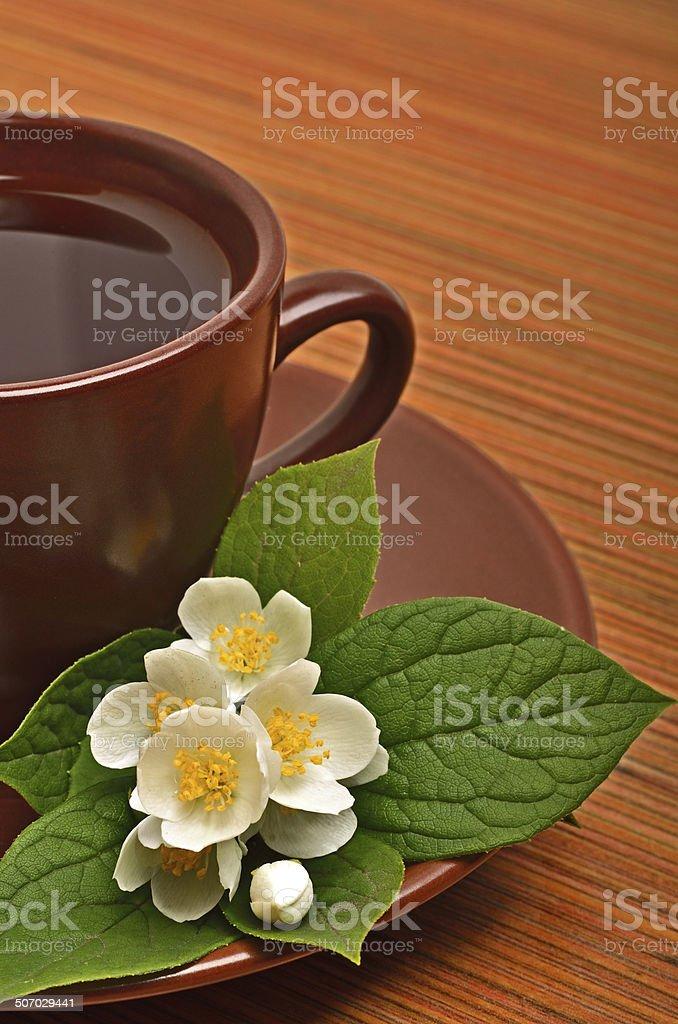 Tea cup with jasmine flower on the wood stock photo