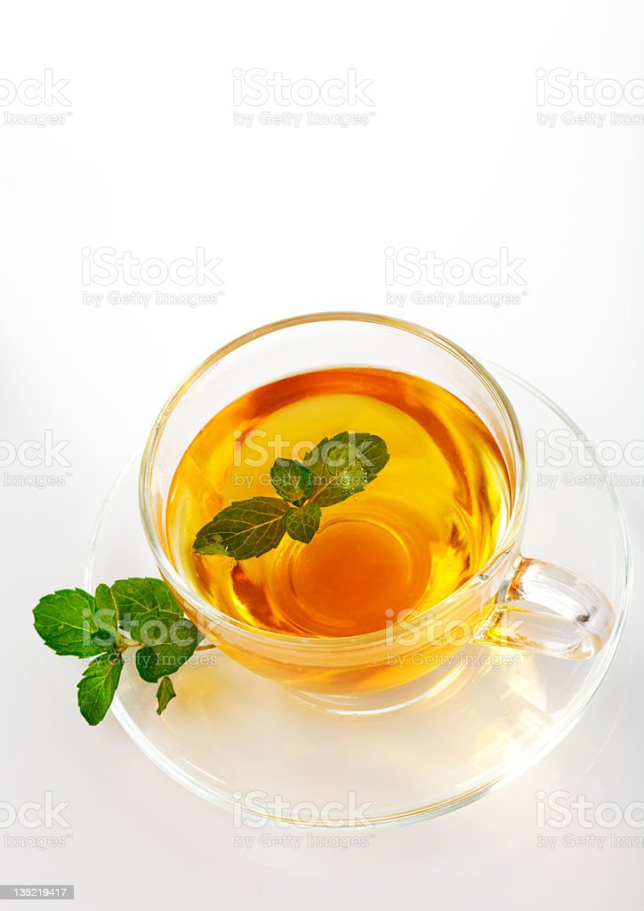 Tea cup with mint isolated royalty-free stock photo
