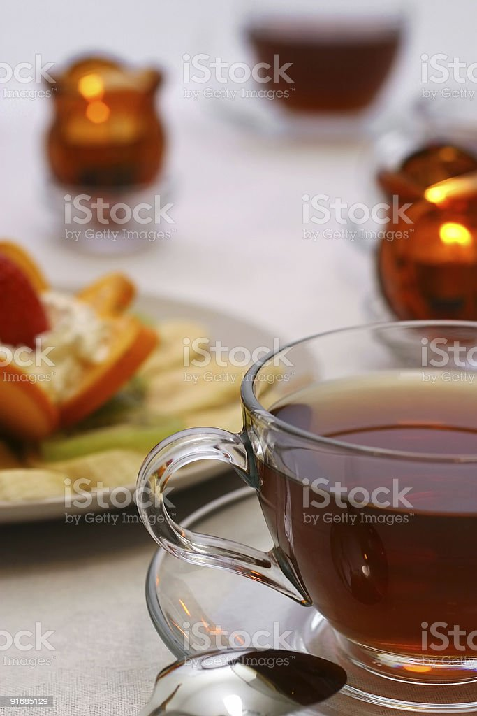 tea cups and fruit salad royalty-free stock photo
