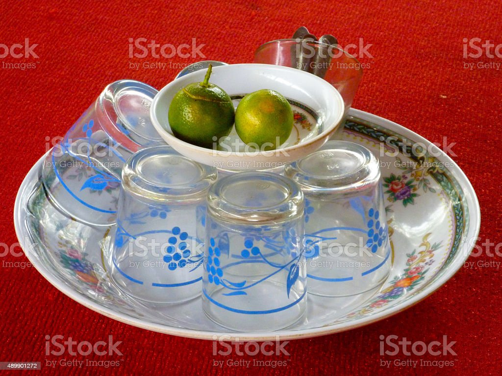 tea cups and lime stock photo