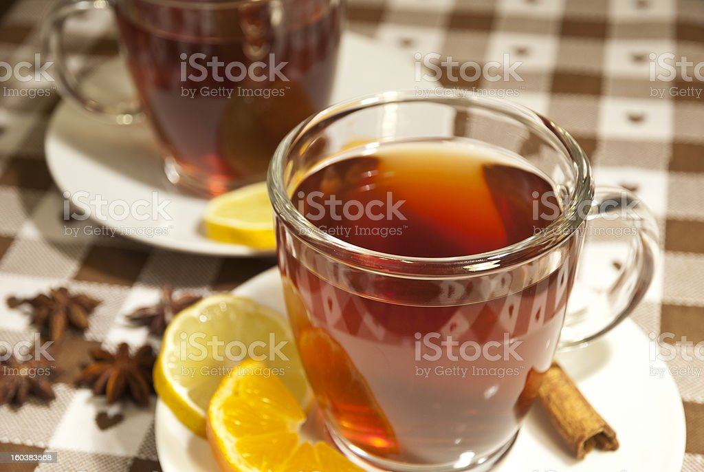 Tea cups at the table royalty-free stock photo