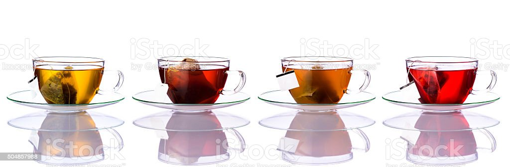 Tea Cups with Bags in Collage stock photo