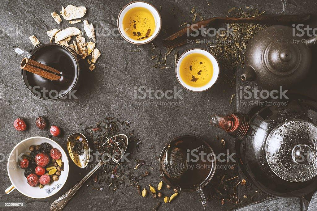 Tea diversity concept horizontal stock photo