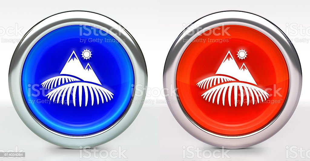 Tea Farm Icon on Button with Metallic Rim stock photo