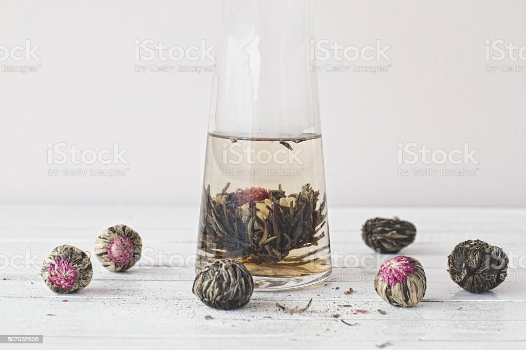 Tea flower in a vase with water stock photo
