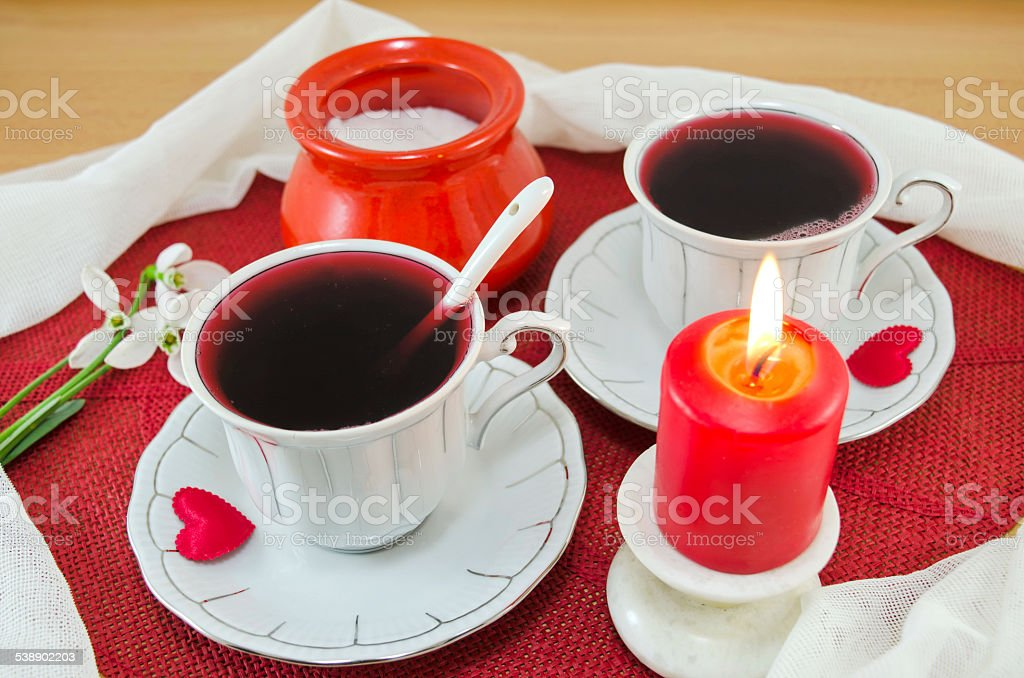 Tea for two with romantic candle royalty-free stock photo