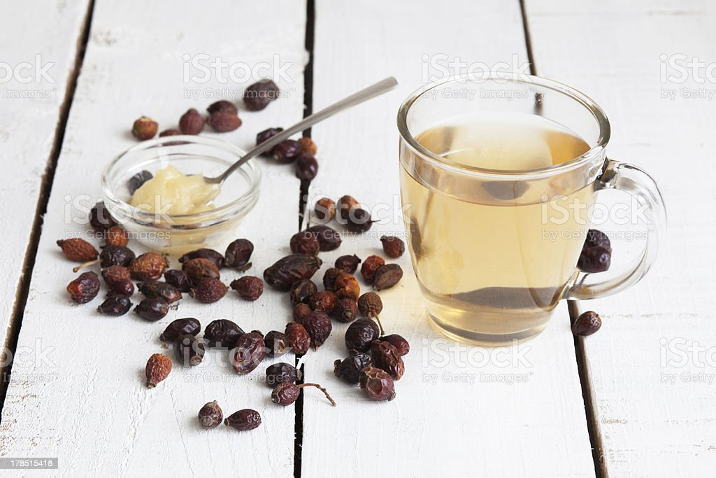 tea from a hawthorn and dry berries royalty-free stock photo