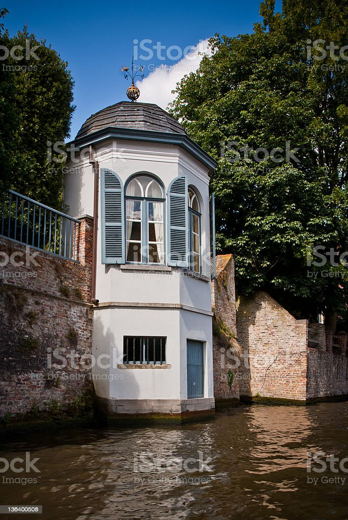 Tea house along the canals in Bruges royalty-free stock photo