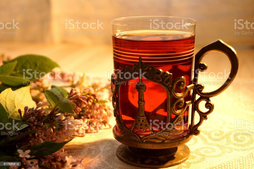 Tea in a glass-holder. stock photo
