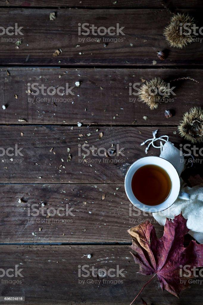 Tea in autumn leaves stock photo
