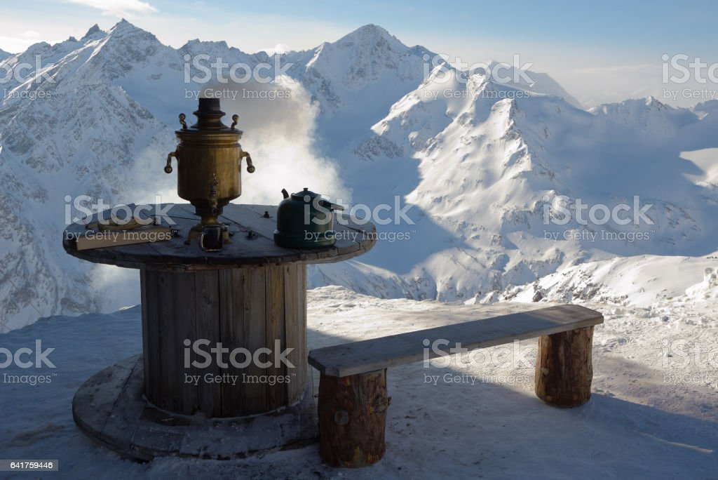 Tea in cafe in the mountain resort of the Caucasus stock photo