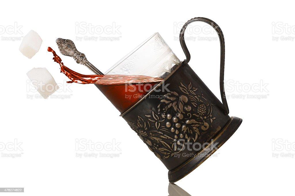 Tea in glassholder (podstakannik) stock photo