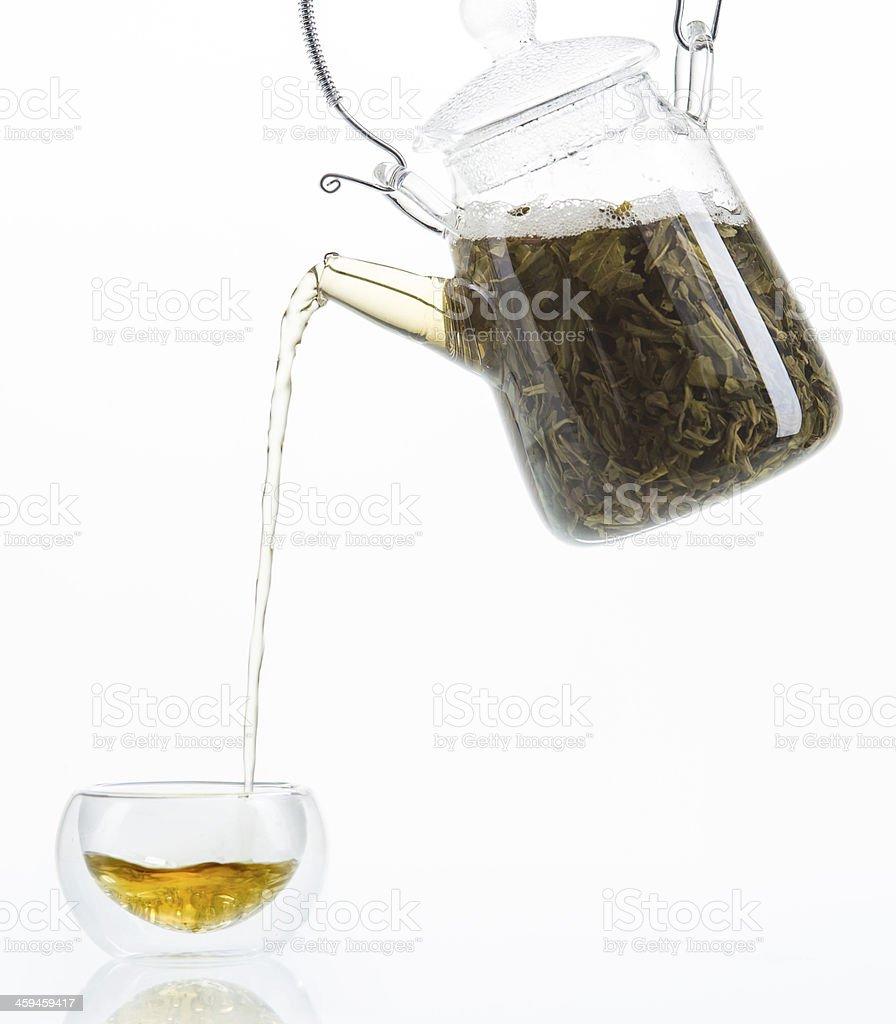 Tea in pot stock photo