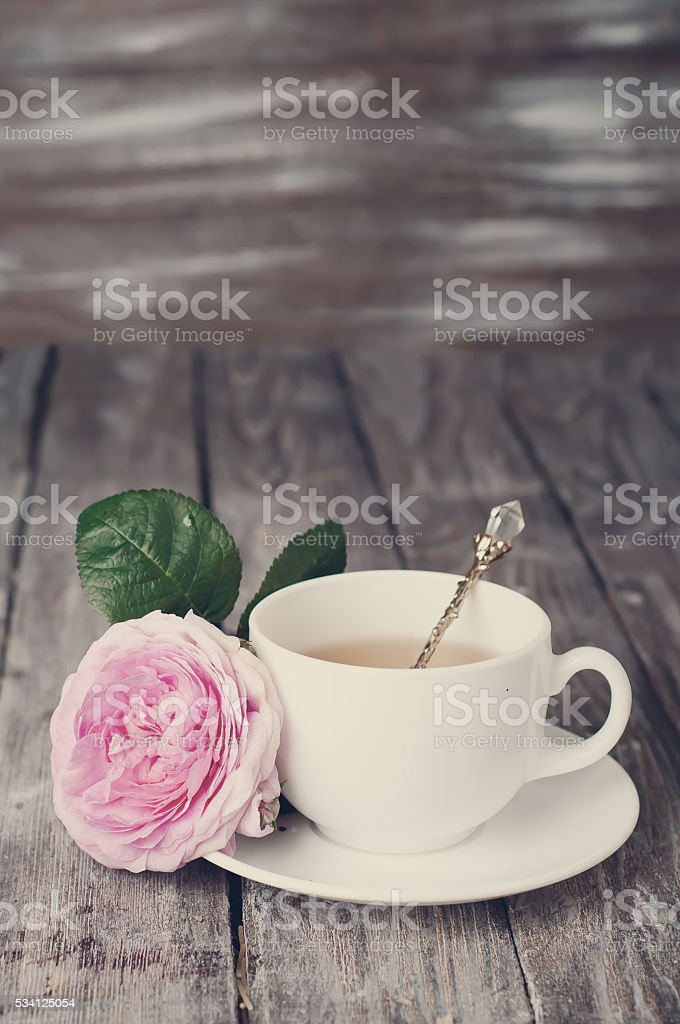 Tea in the Shabby Chic style . Toned photo stock photo