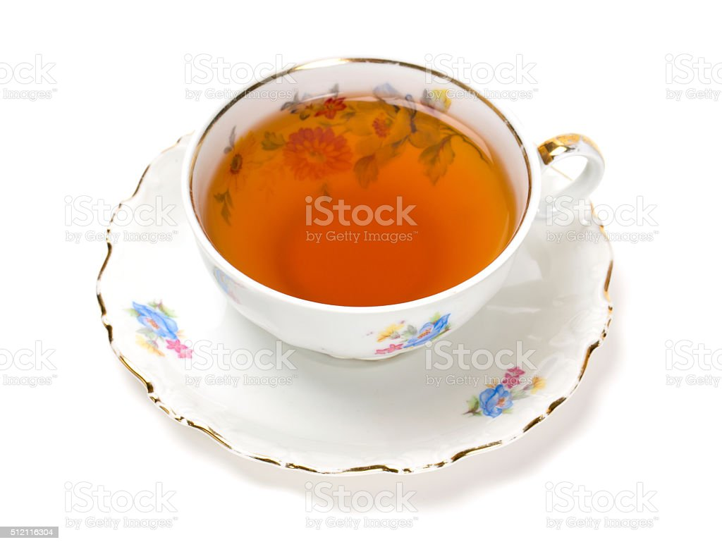 tea in vintage cup isolated on white stock photo