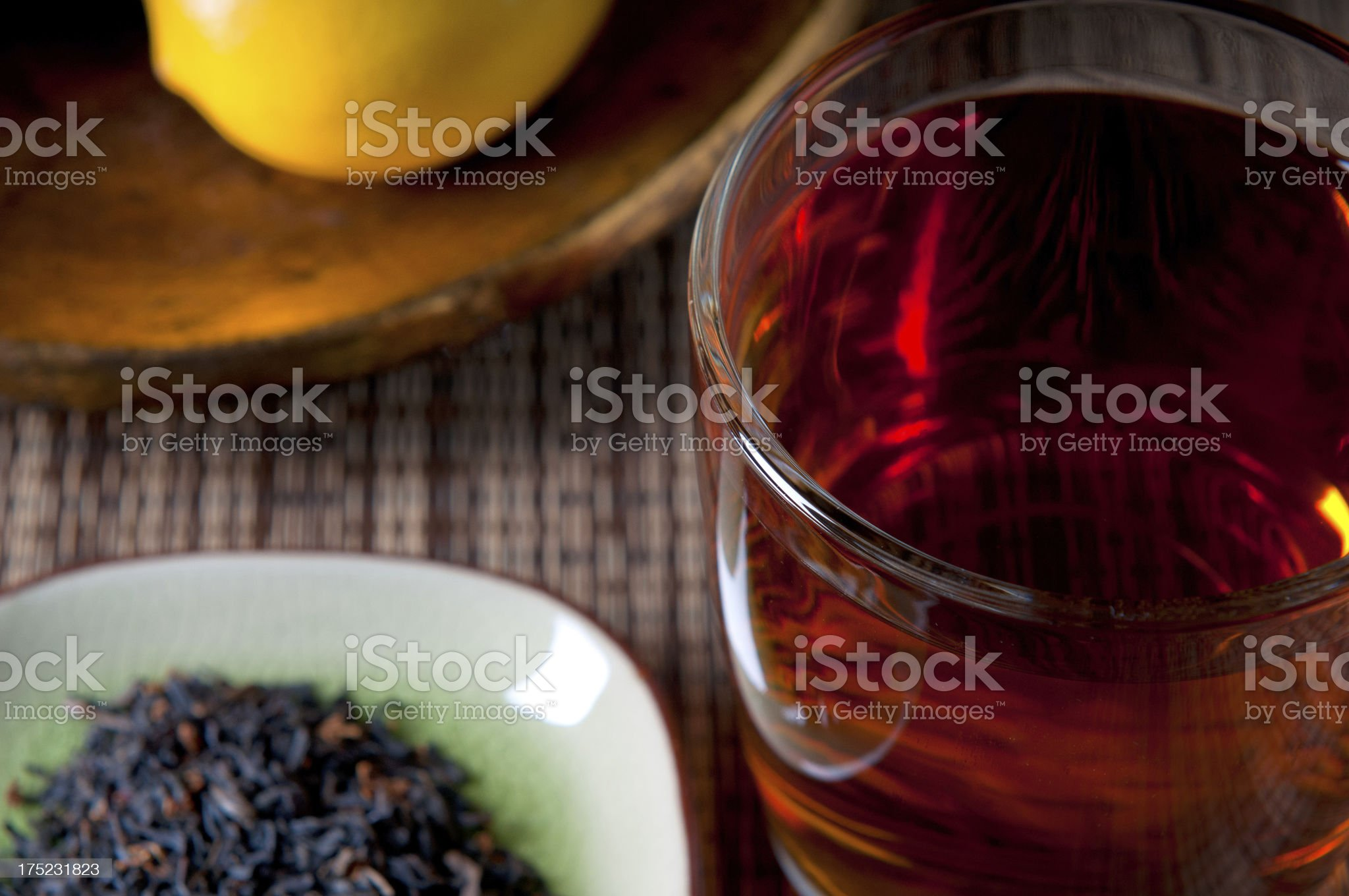 Tea, Leaves and Lemon royalty-free stock photo