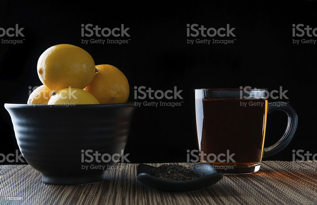 Tea, Leaves and Lemons royalty-free stock photo